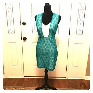 Teal and Ivory Dress